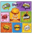 Set of comics speach and explosion bubbles 2 vector image