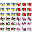 Ukraine Portugal Western Sahara Costa Rica Set of vector image