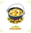 Camping symbol food pot vector image