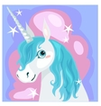 Female unicorn with blue mane vector image