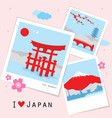 japan view travel photo frame memory vector image