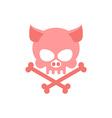 Pig skull with bones Head skeleton of pig Logo for vector image