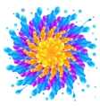 Rainbow colors paint splash circle on white vector image