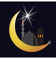 The crescent moon and star Oriental City vector image