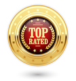 Top rated medal - rating golden insignia vector image