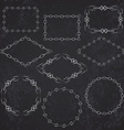 Vintage retro frame set on chalkboard background vector image