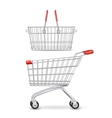 Wheeled Shopping Trolley And Basket Isolated vector image