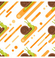 flat style seamless pattern with snail vector image