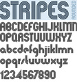 Stripes retro style graphic font alphabet vector image