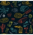hand drawn seamless pattern Mexican food vector image