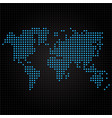 blue dotted world map on black background vector image