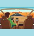 man driving car cabriolet inside vector image