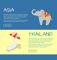 set of asia and thailand flat web banners vector image