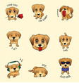 set of stickers emojis with cute dog vector image