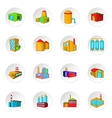 Factory plant icons set cartoon style vector image