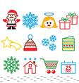 Christmas Xmas celebrate icons set vector image