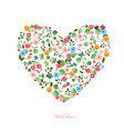 cute heart with birds and butterflies for your vector image