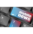 mobile news word on black keyboard and green vector image vector image