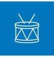 Drum with sticks line icon vector image