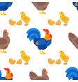 flat style seamless pattern with rooster hen and vector image