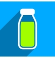 Full Bottle Flat Square Icon with Long Shadow vector image