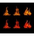 Set of Orange Red Fire Flame Bonfire on Background vector image