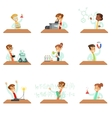 Teens In Lab Coats Doing Science Research Dreaming vector image vector image