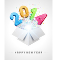 3d Happy new year 2014 3d message fly vector image vector image