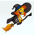 cartoon pretty funny witch flying on her broom vector image