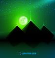 Green night desert landscape vector image
