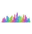 Chicago skyline silhouette - multicolor line art vector image