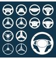 Car Steering Wheel silhouettes Set vector image