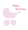 Baby carriage in floral style vector image