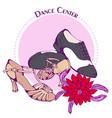 Dance line color ballroom latina shoes vector image