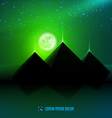 Green night desert landscape vector image
