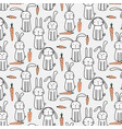 pattern with hand drawn cute bunnies and carrots vector image