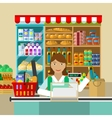 Shop seller of products vector image