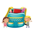 Small kids with a bag vector image
