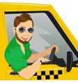 taxi driver with sunglasses in yellow car smiling vector image