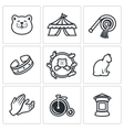 Set of Cat Circus Icons Kitty Tent Whip vector image