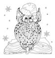 Christmas Owl on book vector image