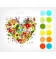Calendar 2014 with four season heart for your vector image vector image