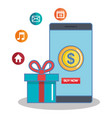 buy now in the cellphone gift box app online vector image