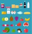vegetables and fruits icons set of food vector image