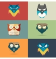 Set cute stylized cartoon icons of owls vector image