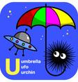 ABC umbrella ufo urchin vector image