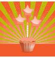 Orange Birthday cupcake vector image vector image