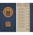Menu for the pub on denim vector image