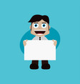 businessman manager at work holding blank sign vector image