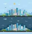 day and night urban landscape modern city vector image